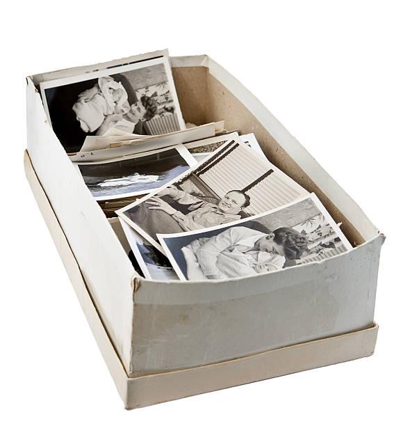 shoebox of old photos stock photo