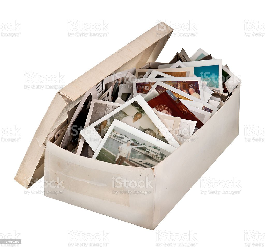 shoebox of old photos too stock photo