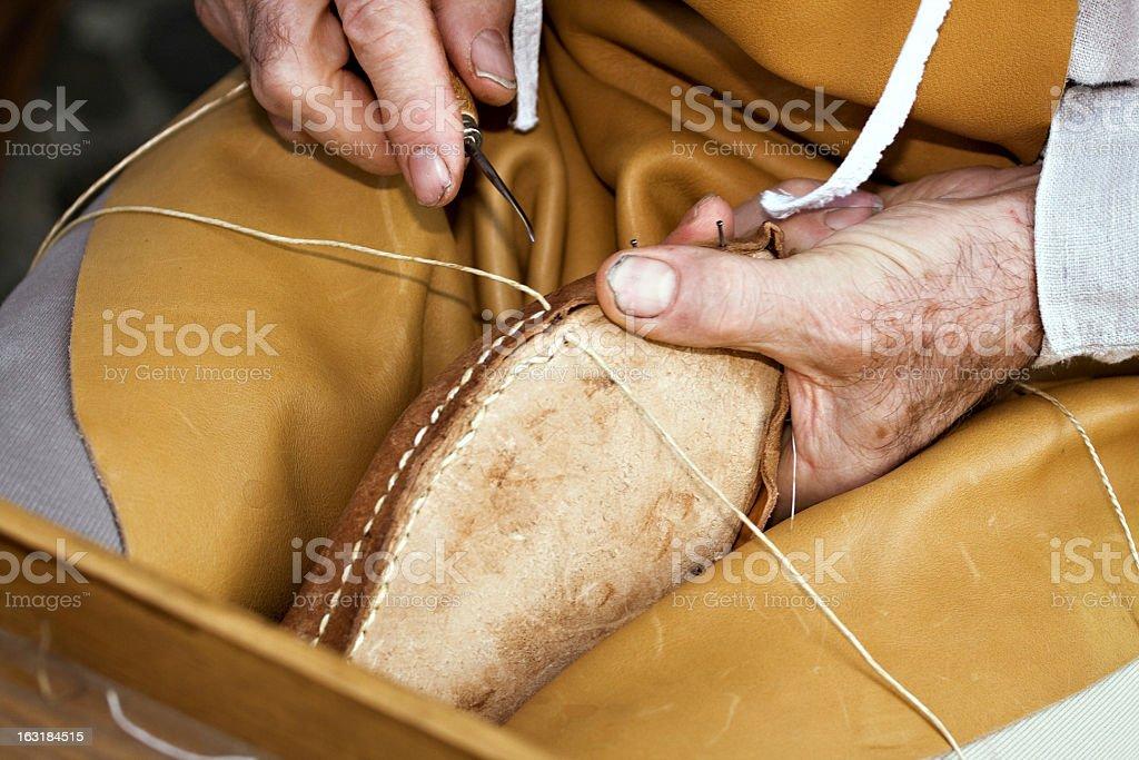 Shoemaker at work royalty-free stock photo