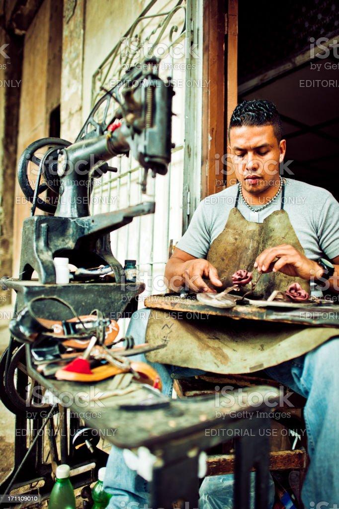 Shoe-maker in Havana, Cuba royalty-free stock photo