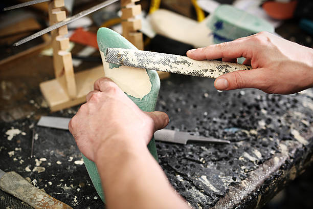 Shoemaker's workshop, append heels Studded upper on the hoof append stock pictures, royalty-free photos & images