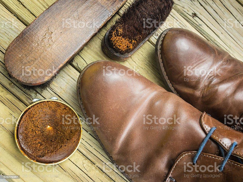shoes and shoe polish stock photo