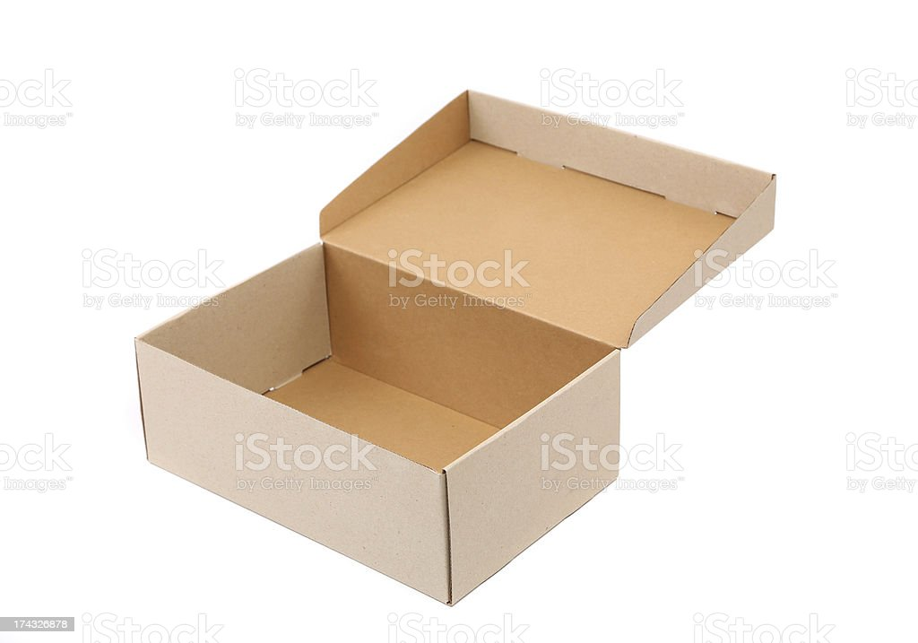 Shoes box is located on the white background royalty-free stock photo