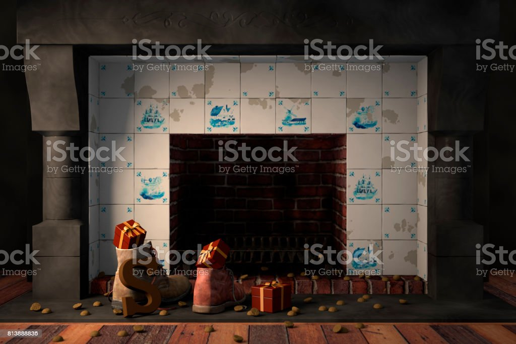 Shoes by the fireplace for the Dutch holiday Sinterklaas stock photo