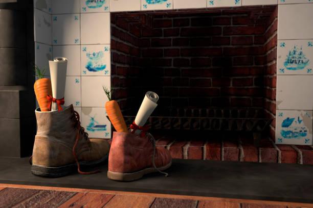 chaussures près de la cheminée pour les vacances néerlandais sinterklaas - saint nicolas photos et images de collection