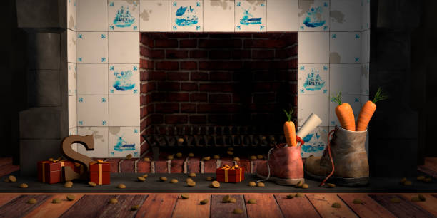 Shoes by the fireplace for the Dutch holiday Sinterklaas Shoes with carrots by the fireplace, or 'schoen zetten' for the traditional Dutch holiday Sinterklaas. sinterklaas stock pictures, royalty-free photos & images