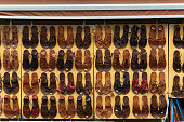 Firenze, Italy, April 26, 2019: sample of hand made Shoes Exposition in the Firenze streets