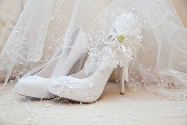 shoes for the bride - veil stock pictures, royalty-free photos & images
