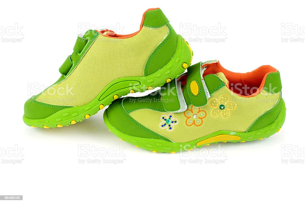 Shoes for the girls in green color royalty-free stock photo