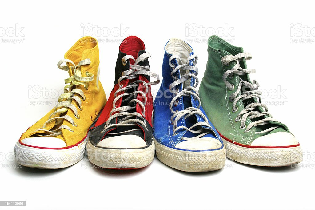 Shoes Four Different Chucks. royalty-free stock photo