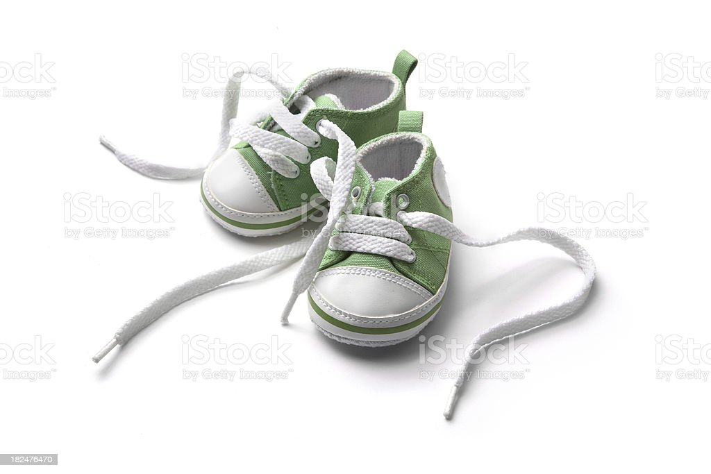 Shoes: Green Baby Shoe stock photo