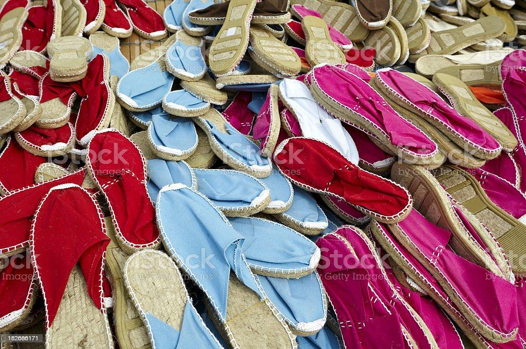 Shoes. Hemp sandals. royalty-free stock photo