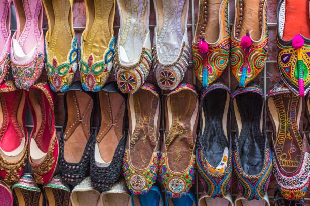 Shoes in arabian style, market of Dubai stock photo