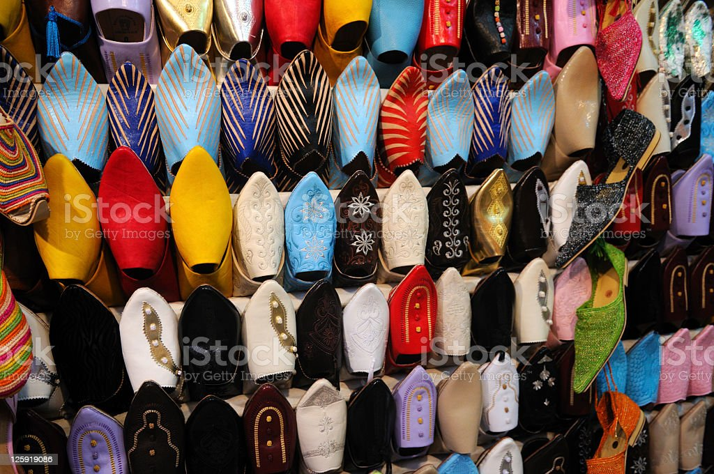 Shoes in Marrakech Souk royalty-free stock photo