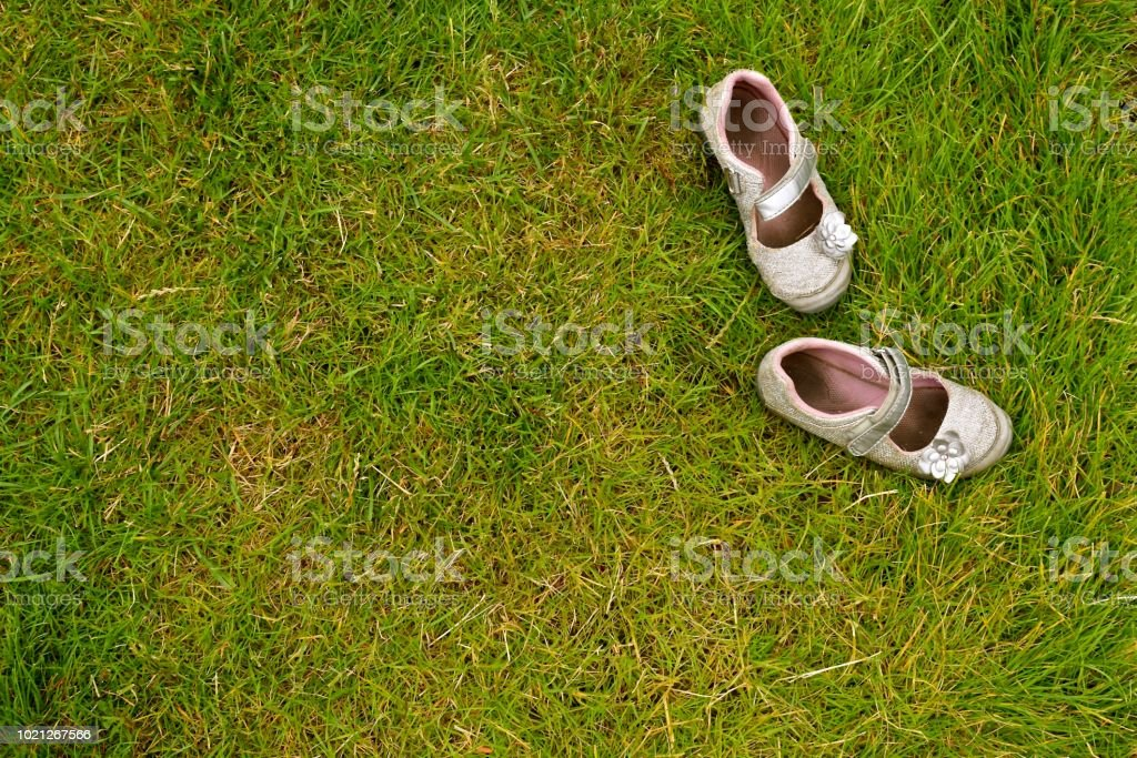 Shoes in the Grass stock photo