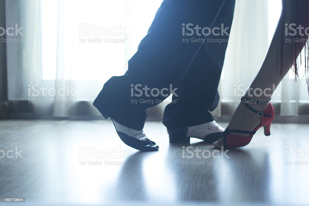 Shoes legs ballroom dance teaches dancers couple stock photo