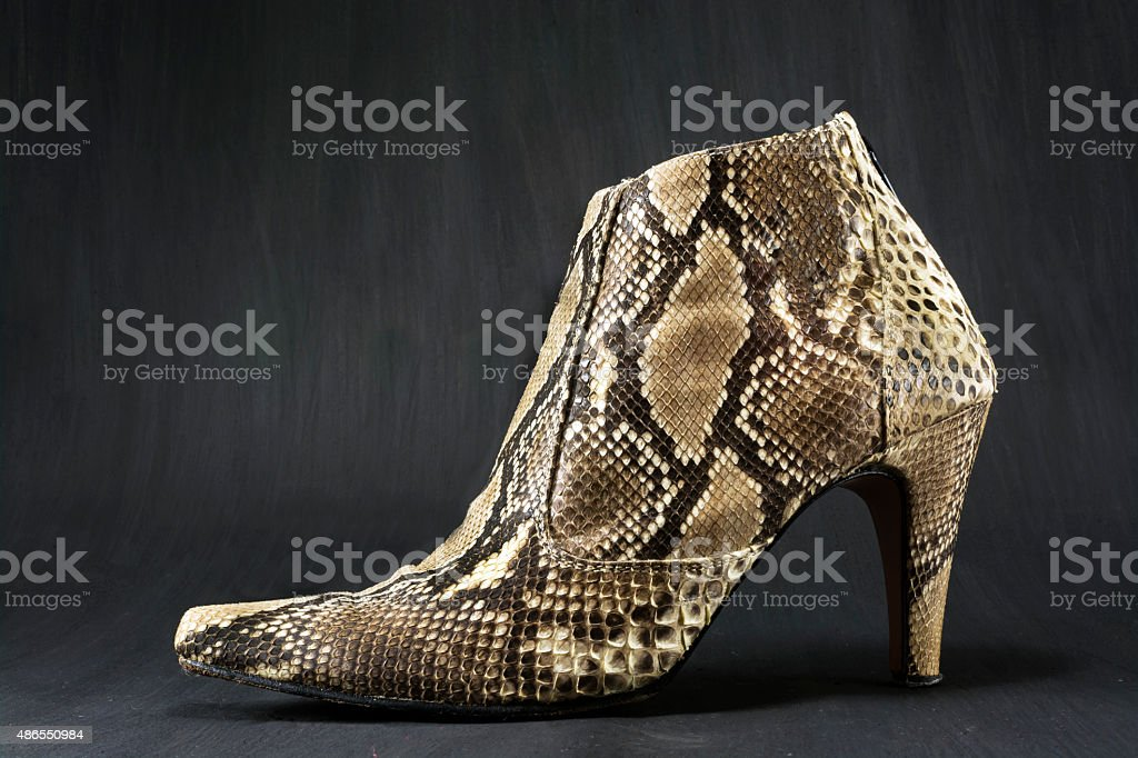 Shoes made of snake skin stock photo