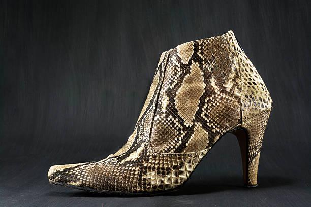 Calzado hecho de la piel de serpiente - foto de stock
