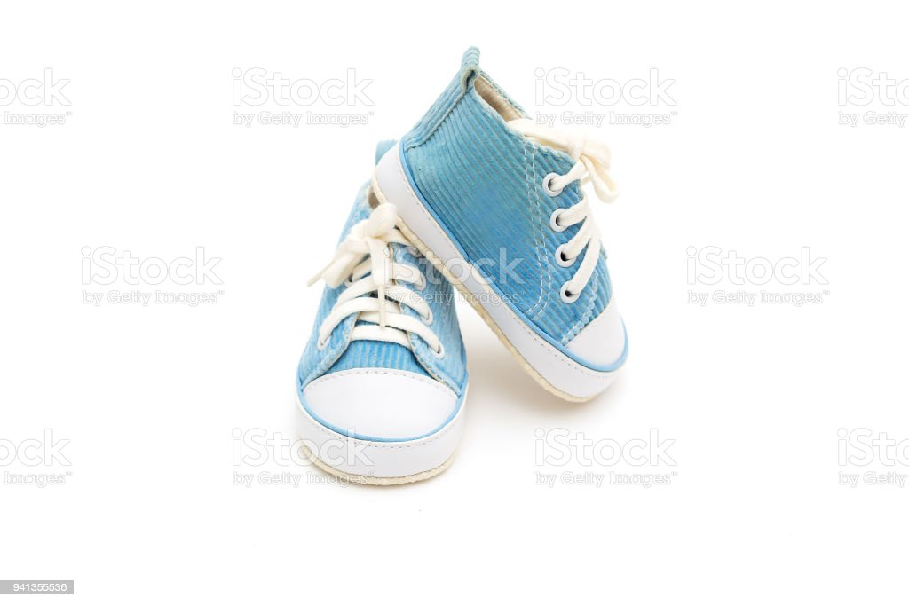 38f9fce01014 Shoes of blue color for the baby on a white background. Isolated objects  royalty-