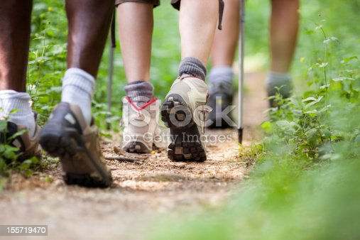 group of man and women during hiking excursion in woods, walking in a queue along a path. Low section view