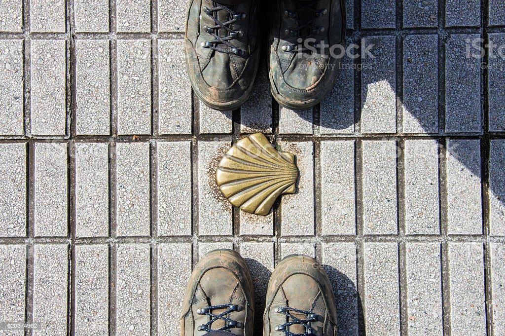 Shoes of two pilgrims / hikers zbiór zdjęć royalty-free