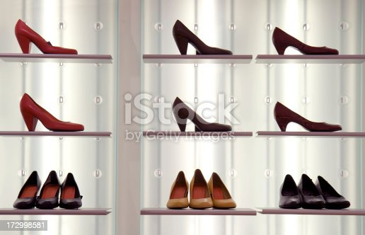 Womens heeled shoes in orderly fashion on display.