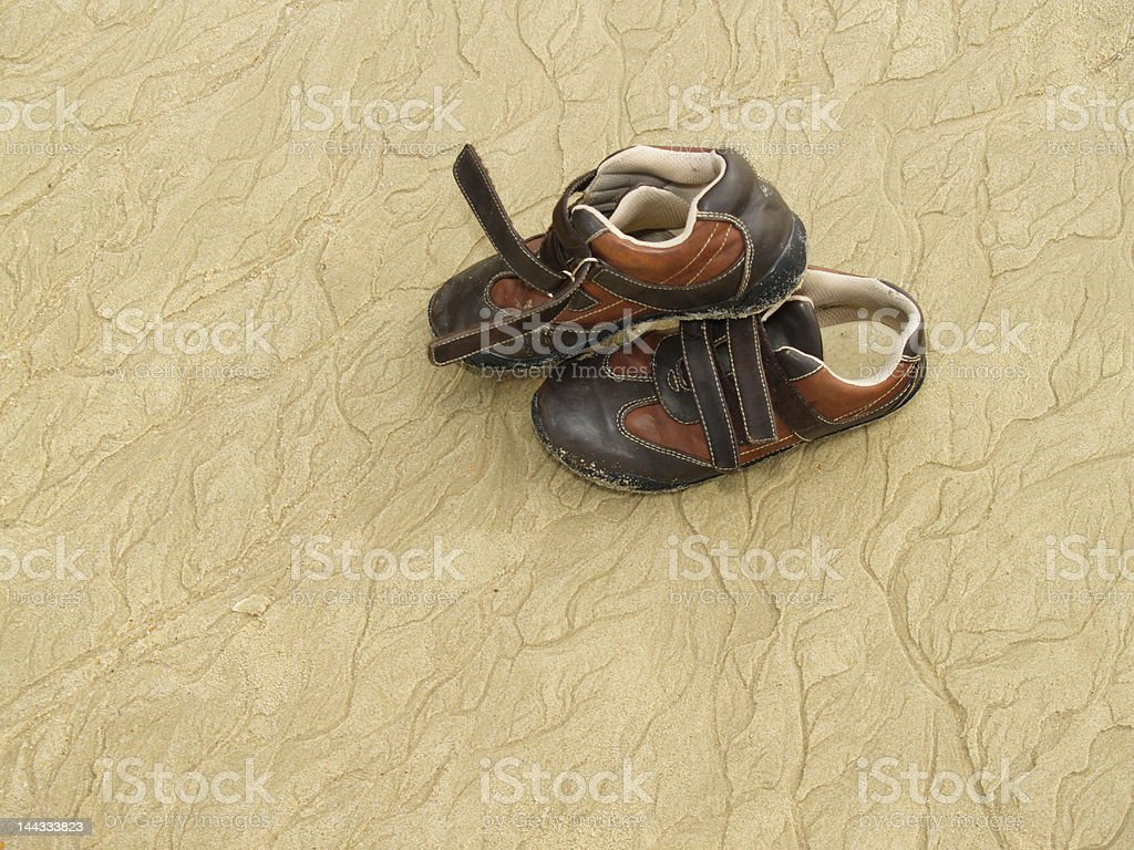 Shoes on Sand royalty-free stock photo