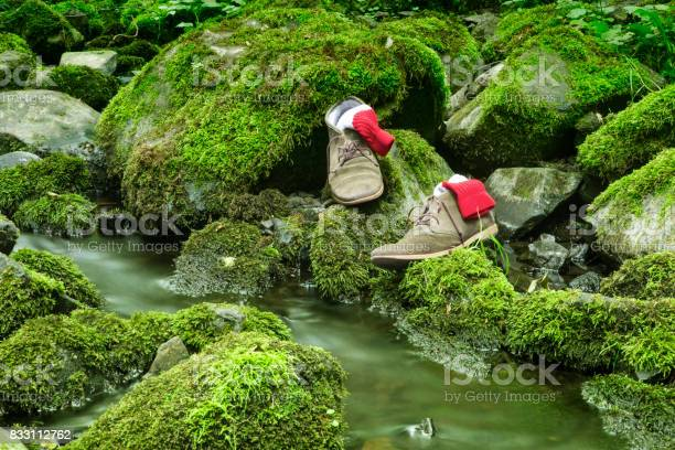 Photo of shoes on stone with green moss by a creek