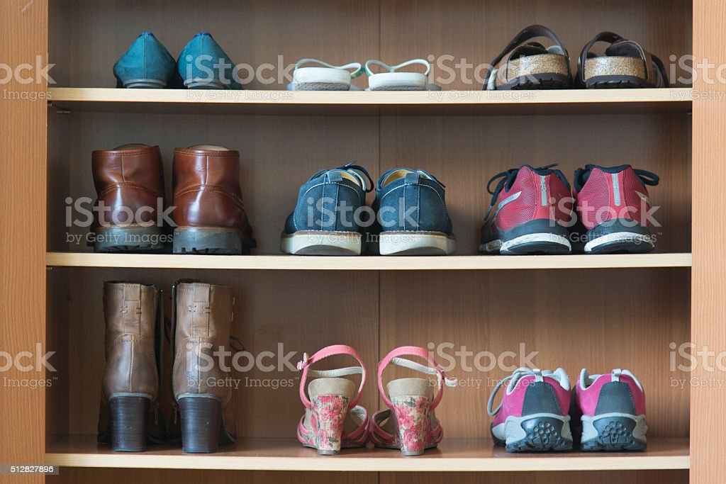 shoes shelf stock photo