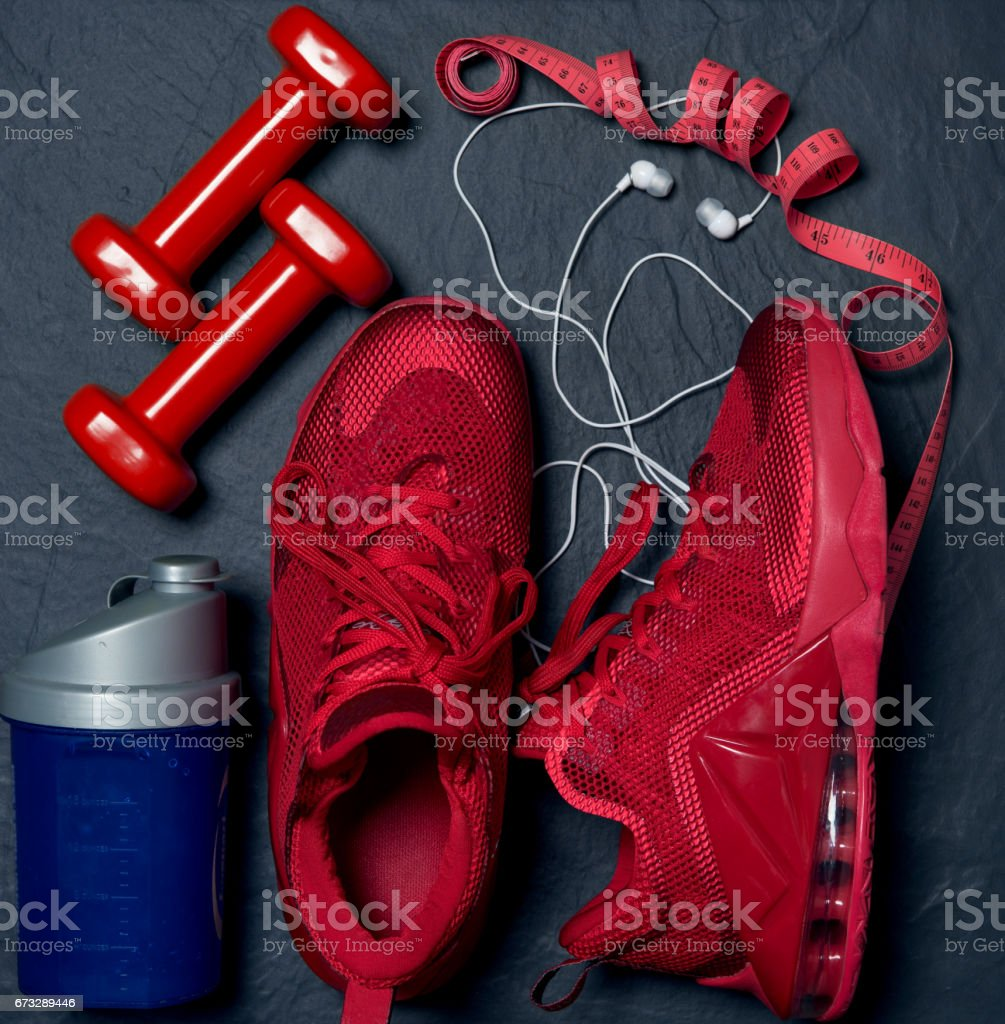 shoes sneakers with headphones and accessories royalty-free stock photo