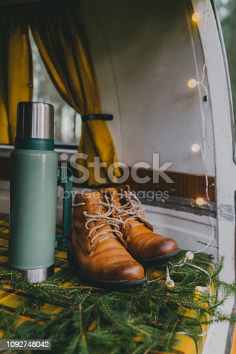 Leather shoes standing in camper van