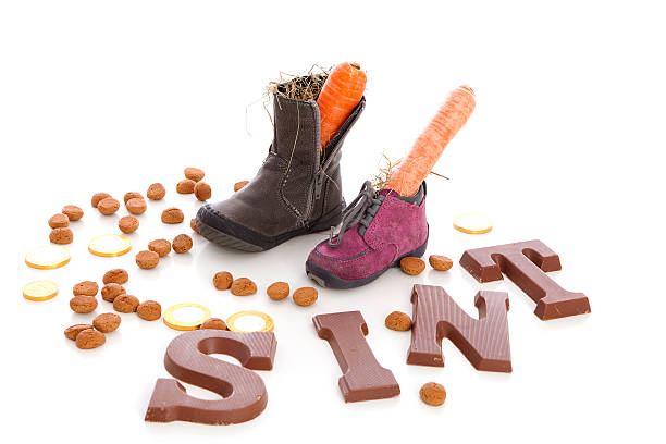 Shoes with carrots for Sinterklaas, a typical Dutch event stock photo