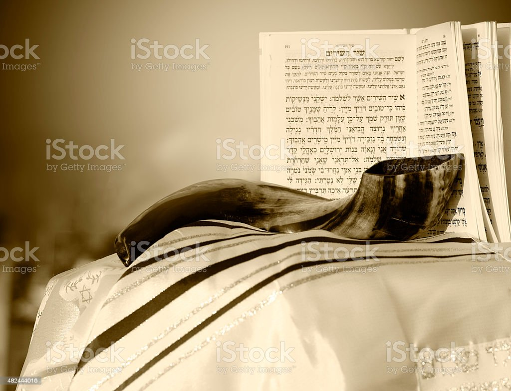 Shofar prayer book and Talit stock photo