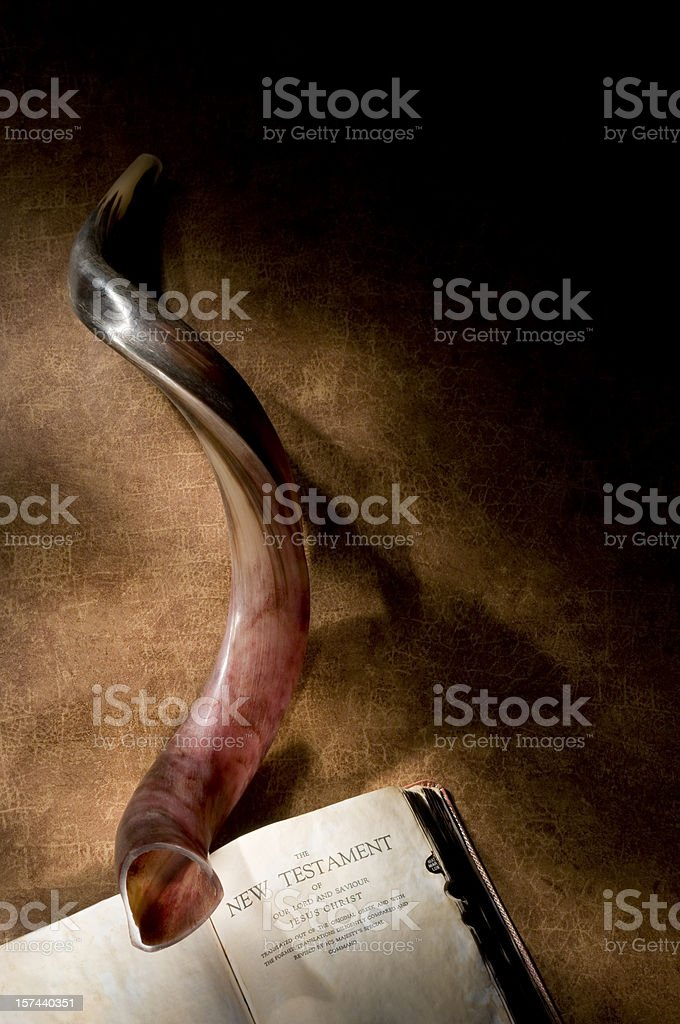 Shofar with Bible stock photo
