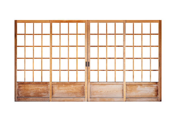 Shoji , Traditional Japanese door,window or room divider consisting isolated on white background stock photo