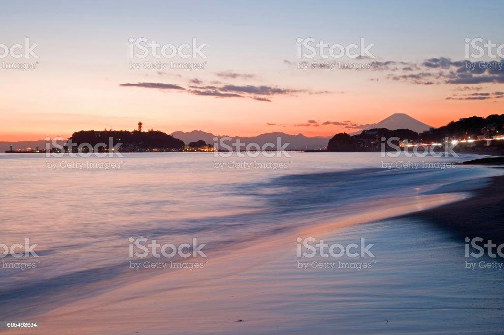 Shonan South Coast sunset stock photo