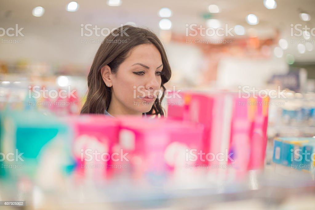 Shoopiing for tampons stock photo