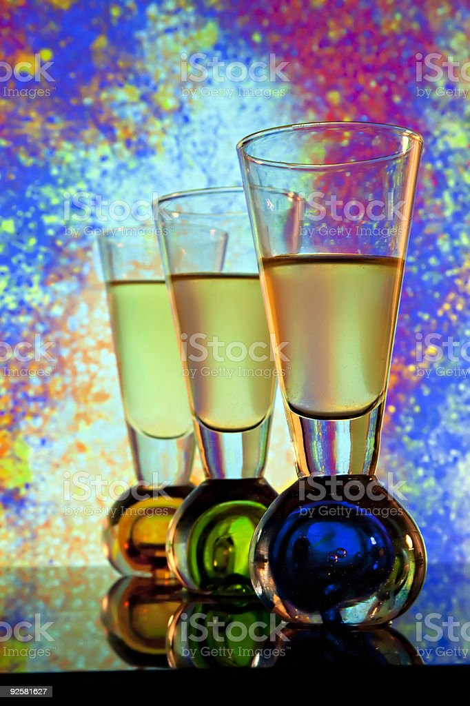 Shooter glasses in front of colorful  window royalty-free stock photo