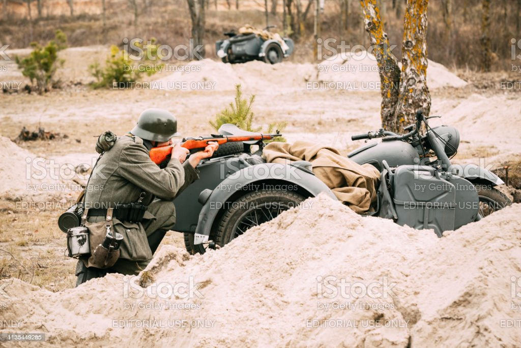 A German soldier from the time of the Second World War took up arms...