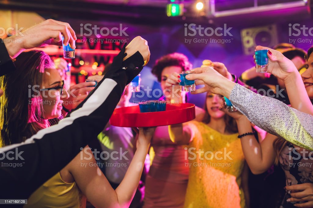 Group of people celebrating new year at a party