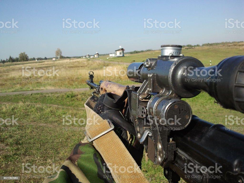 shooter's look stock photo
