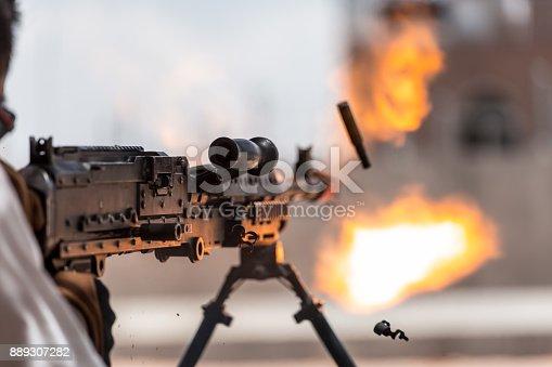 Shooting .50 caliber weapon