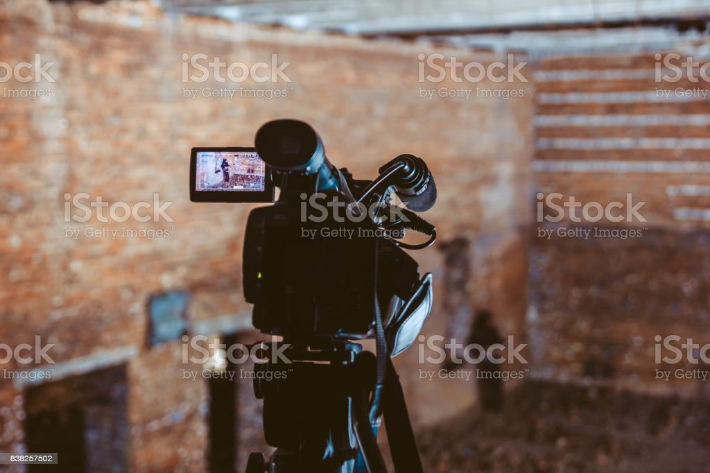 Shooting a music video stock photo