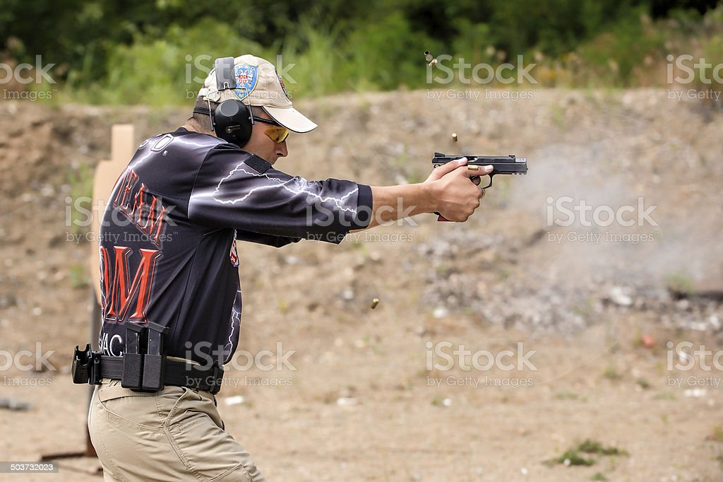 Shooting and Weapons Training. Outdoor Shooting Range stock photo