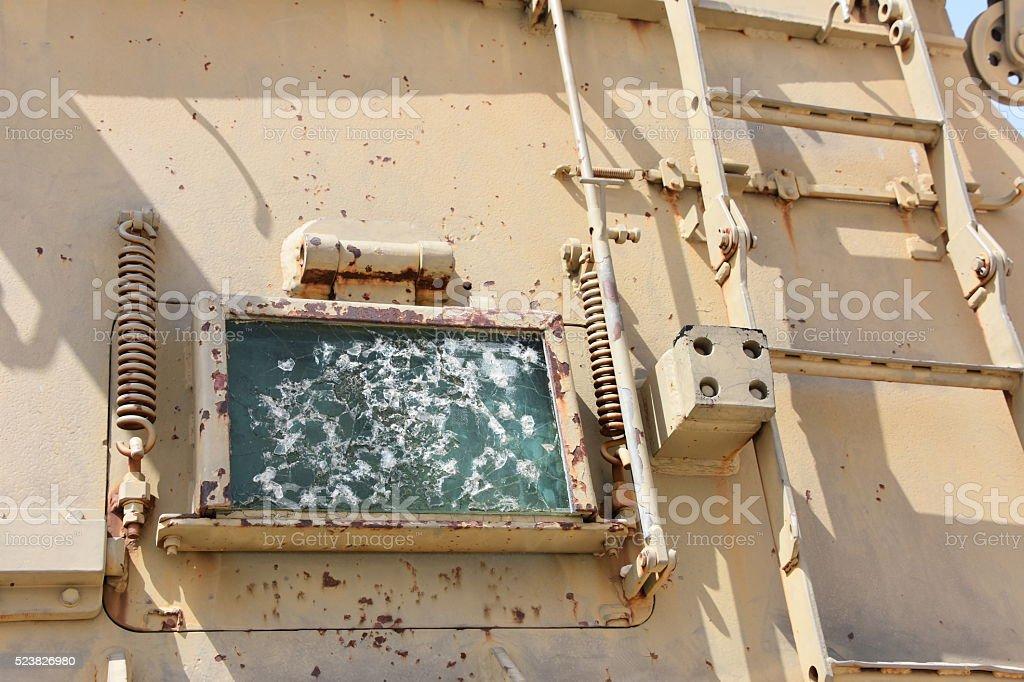 Shooting armored glass stock photo