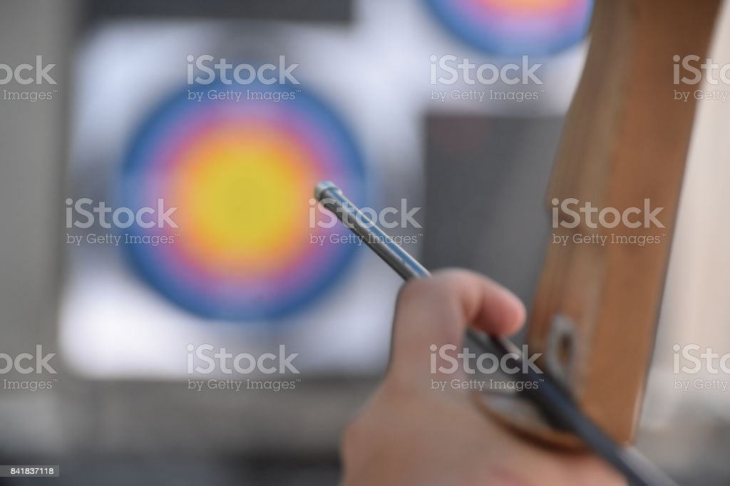 ShootING Arrows at Target stock photo
