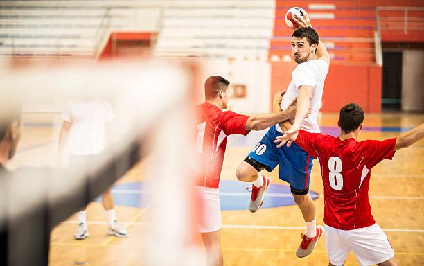 shooting at goal. - handboll bildbanksfoton och bilder