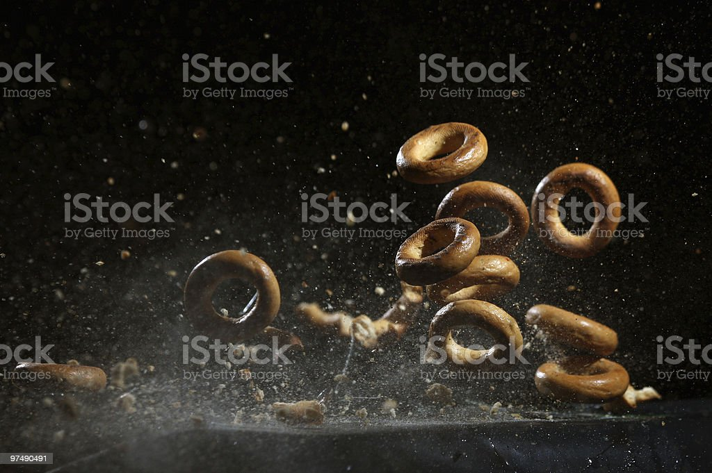 Shooting bagel royalty-free stock photo
