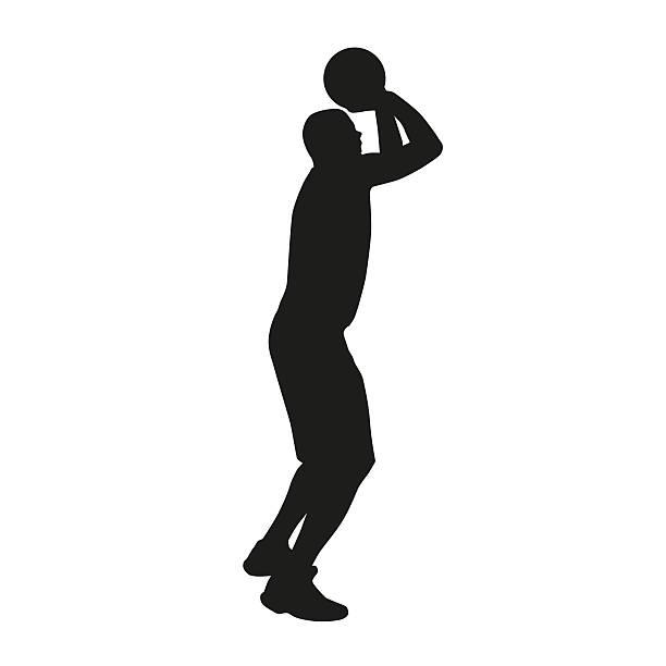 Shooting basketball player vector silhouette stock photo