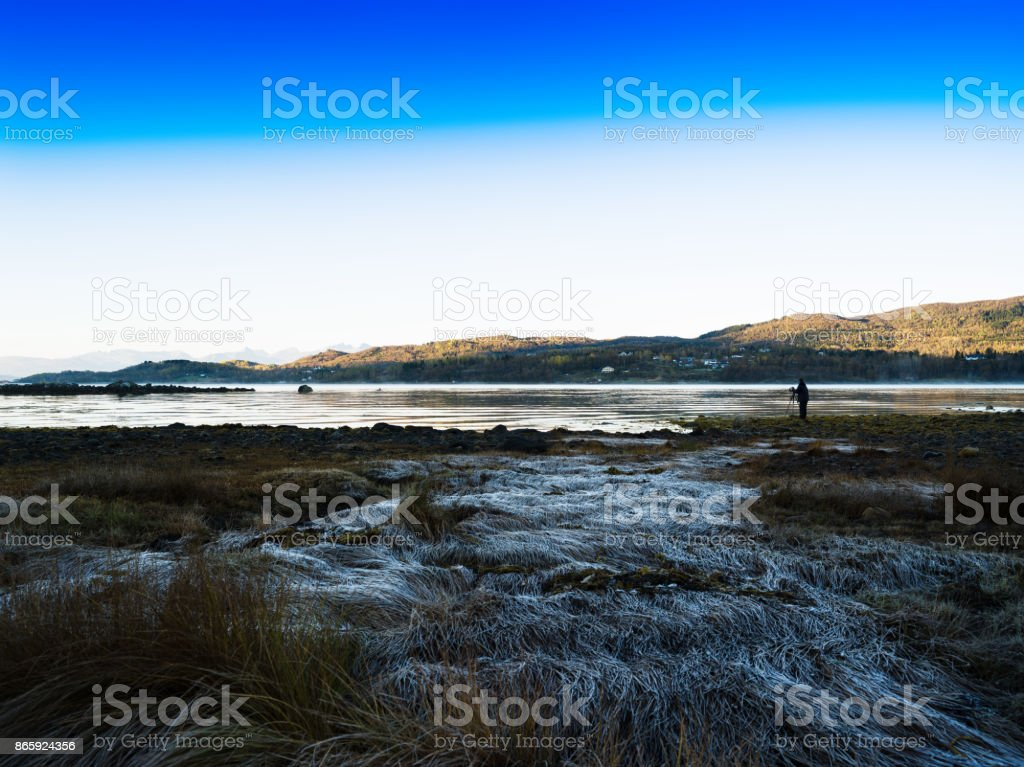 Shooting beauty of autumn Norway Lofoten islands landscape backg stock photo